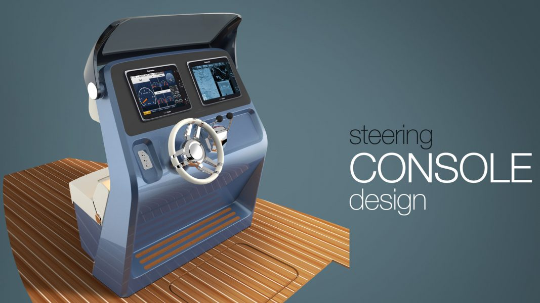 Steering console of the superyachtyacht tender designed by H.Bekradi of HBD Studios using Raymarine bridge