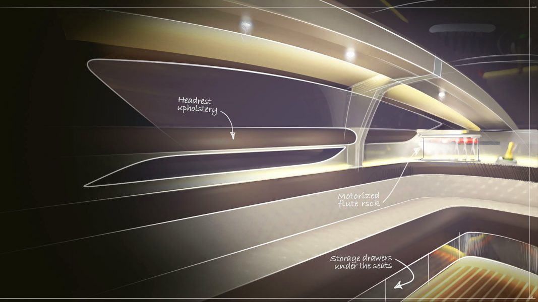 yacht interior design sketch of the superyacht tender design by H.Bekradi