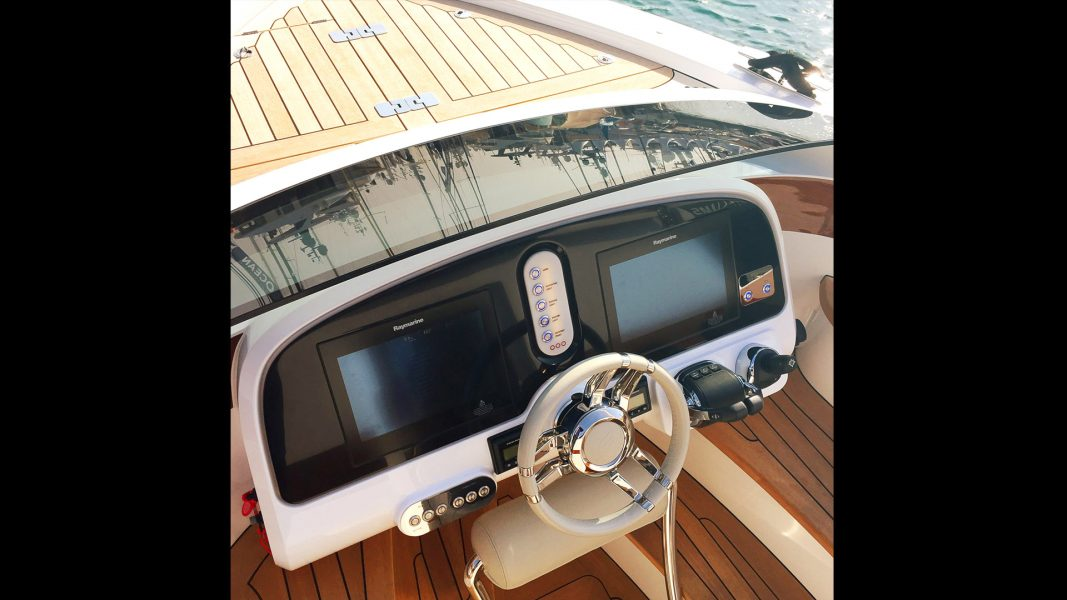 Helmsman console of superyacht tender boat, Silverline limousine displayed at Monaco Yacht Show design by Hamid Bekradi