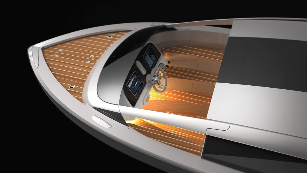 Rendering of helmsman position in limousine superyacht tender boat design by H.Bekradi