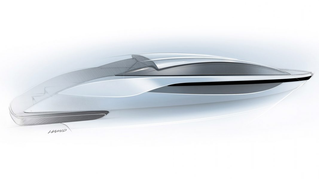 Sketch of a tender yacht by Hamid Bekradi, concept design for tender boats and yachts for superyachts
