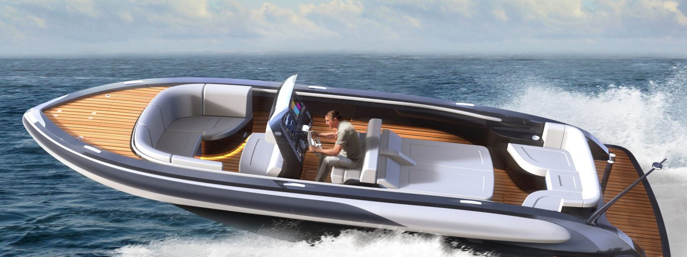 Luxury rib boat for superyachts in gun metal paint design by H.Bekradi