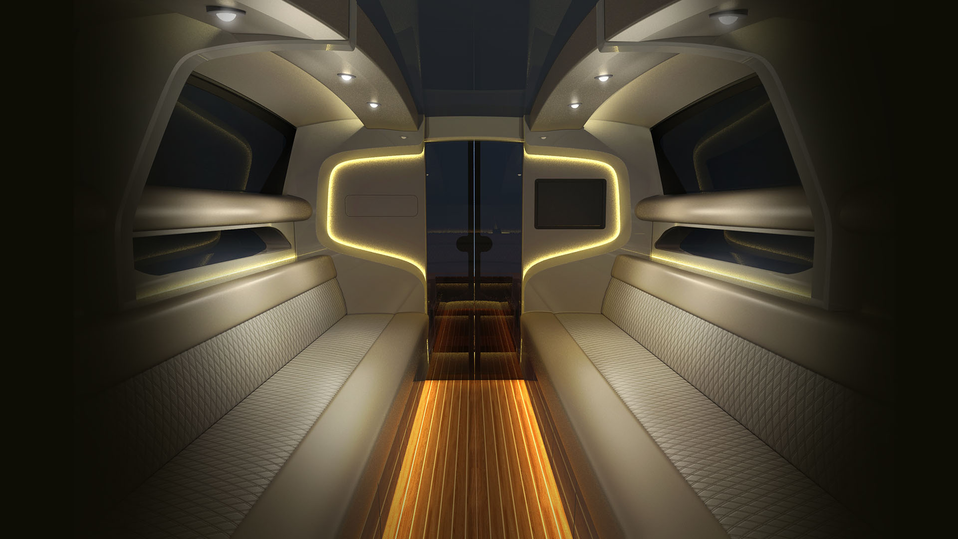 yacht interior design rendering of the superyacht tender design by H.Bekradi