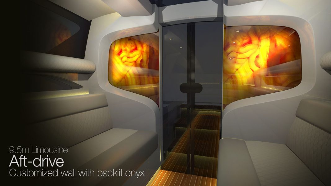 Yacht Interior design of the superyacht limousine tender design by H.Bekradi, using onyx stone and leather upholstery