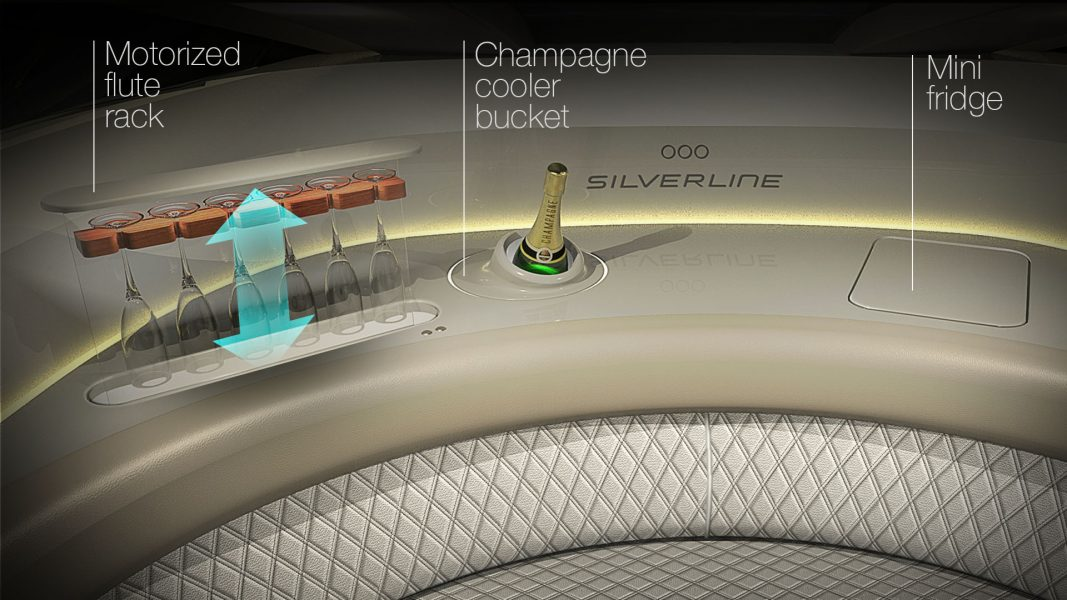 Champagne cooler in the yacht interior design of the superyacht tender design by H.Bekradi