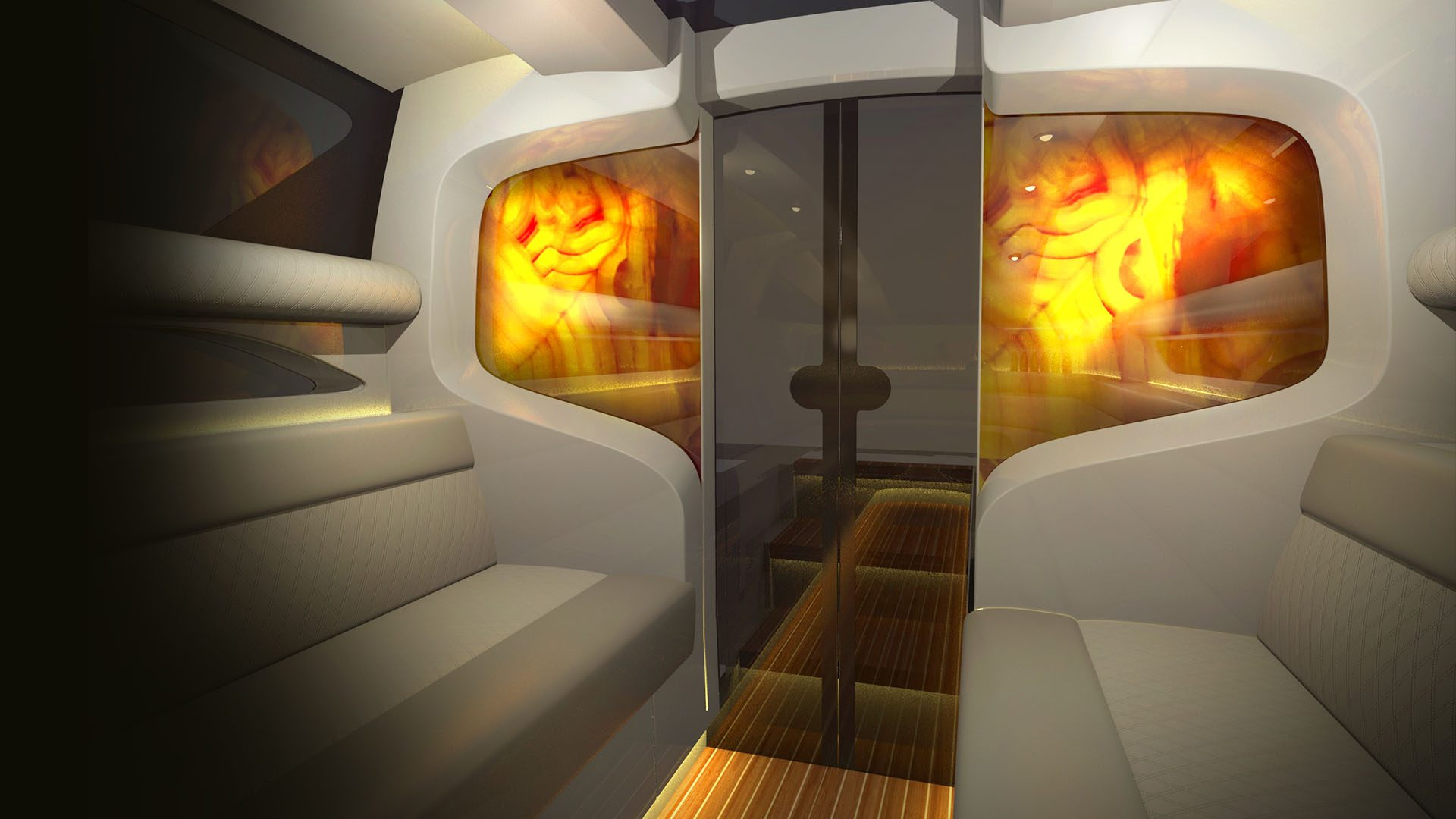 backlit onyx panel in the yacht interior design of the superyacht tender design by H.Bekradi