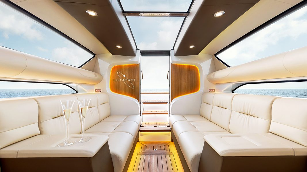 Superyacht tender limousine boat interior design of cabin by Hamid Bekradi of HBD Studios