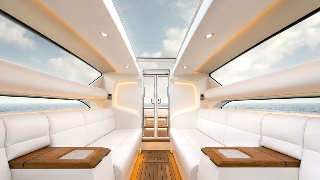 Superyacht tender boat interior design by Hamid Bekradi Silverline tender series