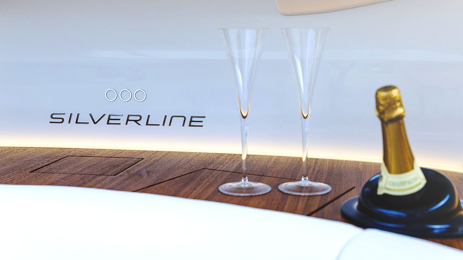 Superyacht tender boat Interior design by Hamid Bekradi, champagne onboard Silverline tender series