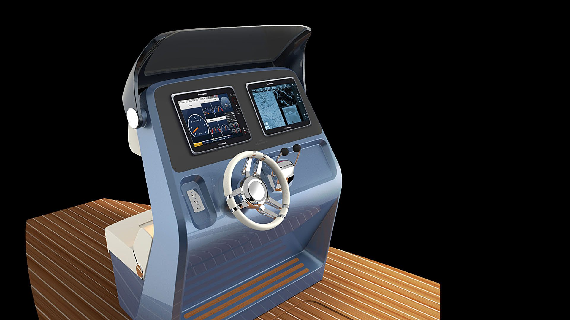 helmsman console of the superyacht tender design by H.Bekradi Raymarine bridge
