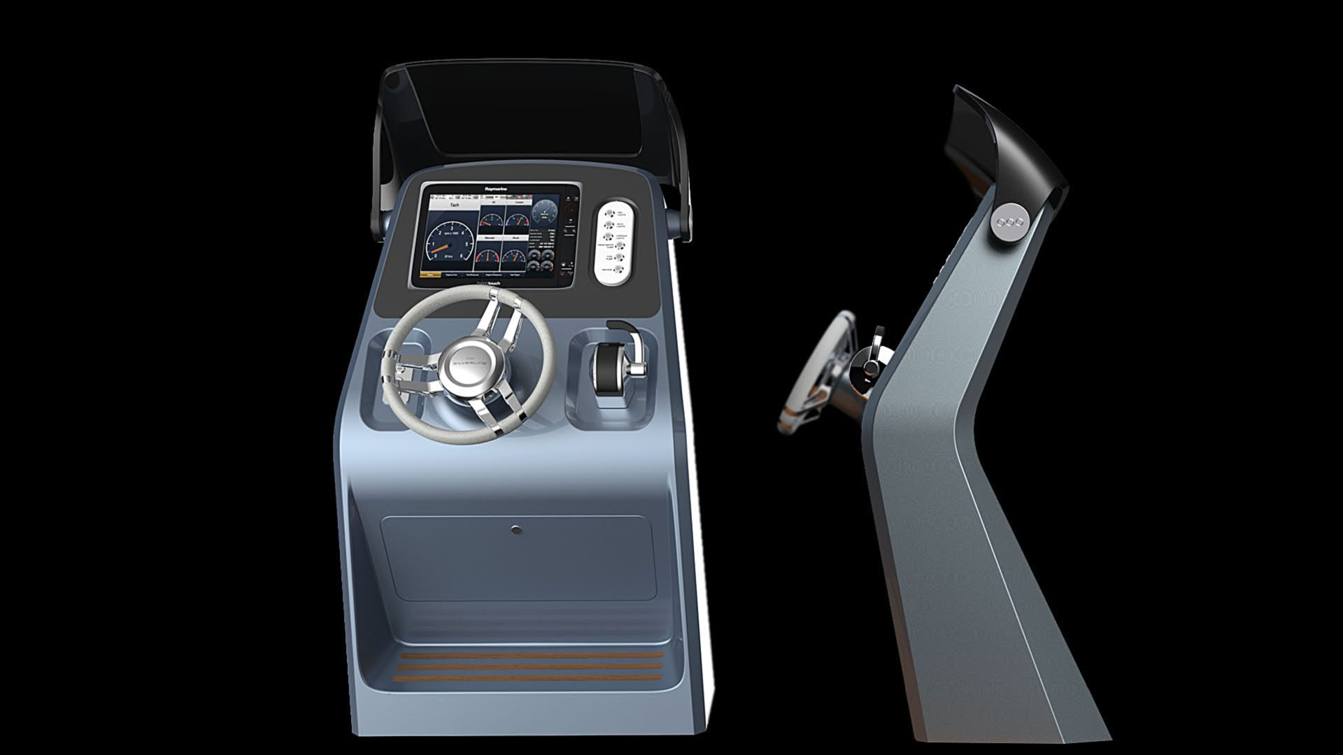 Steering console of the superyacht tender design by H.Bekradi Raymarine bridge