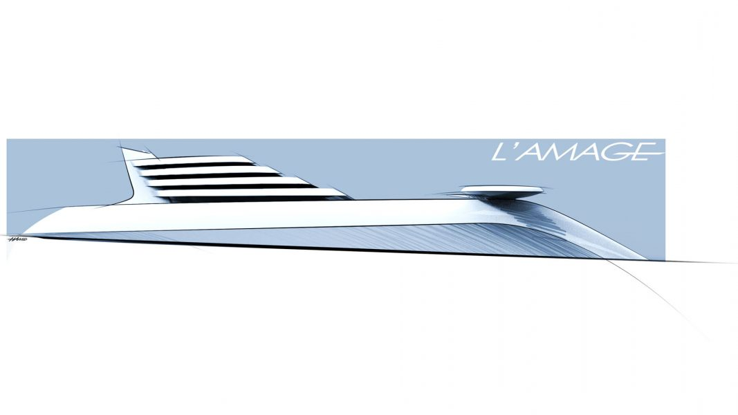 sketch of Superyacht L'Amage mehayacht design by visionary designer HBekradi