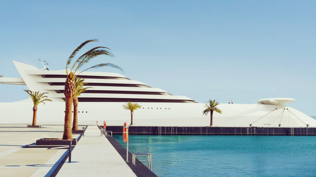 Superyacht L'Amage at harbour mehayacht design by visionary designer HBekradi