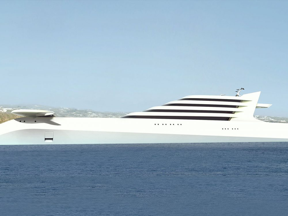 rendering of superyacht L'AMAGE design by Hamid Bekradi visionary yacht designer of luxury megayachts