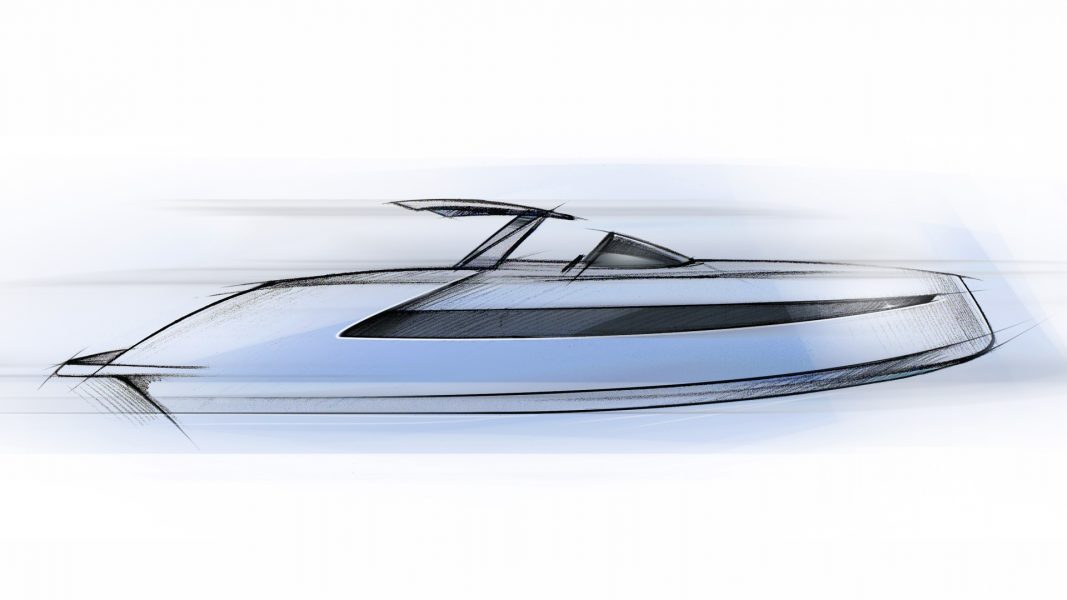 Yacht Sketch, a freehand sketch of the Luxury Powerboat Phantom 54, a luxurious chase boat for superyachts and a stylish weekender yacht designed by Hamid Bekradi