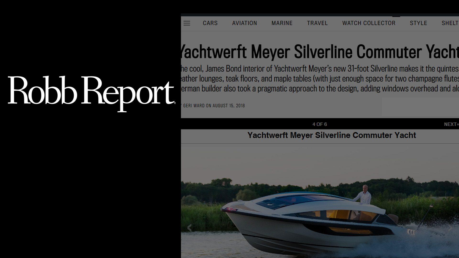 Robb Report magazine describing superyacht tender Silverline designed by Hamid Bekradi as the James Bond boat