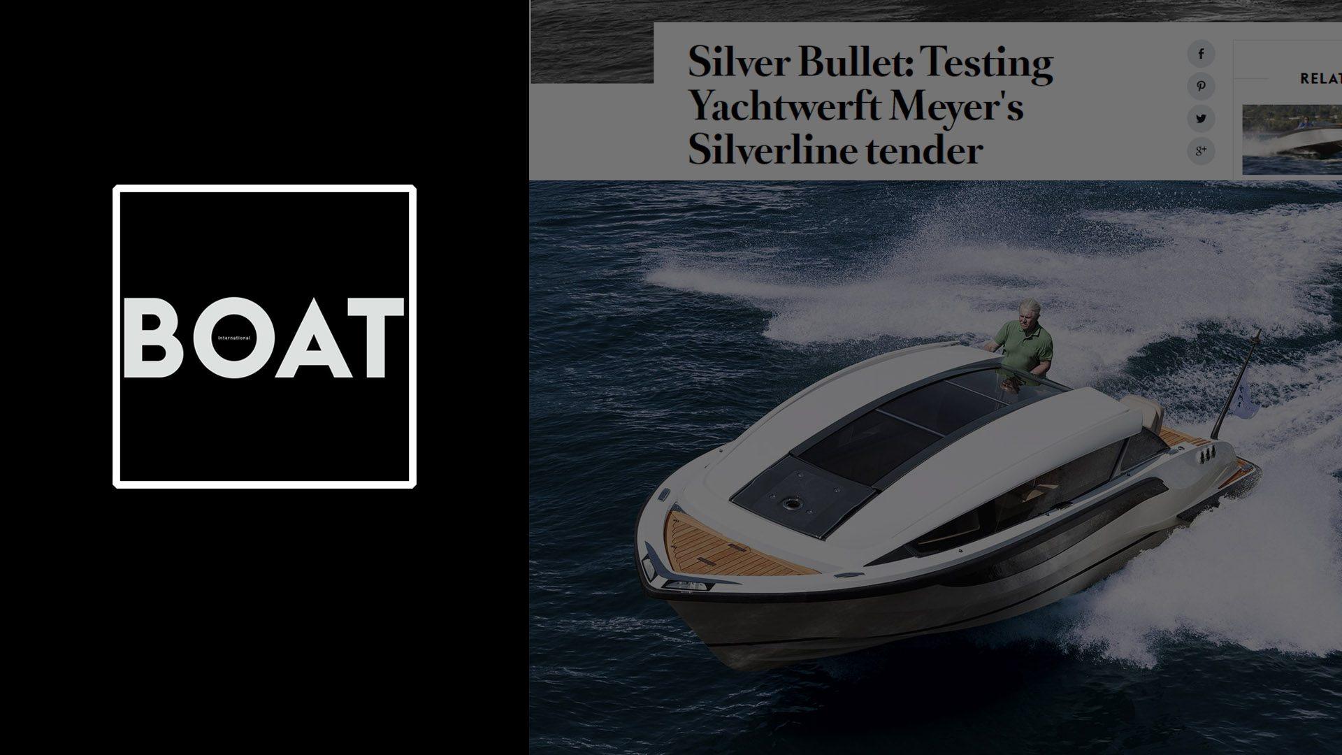 Superyacht limousine tender Silverline designed by Hamid Bekradi featured on BOAT International magazine