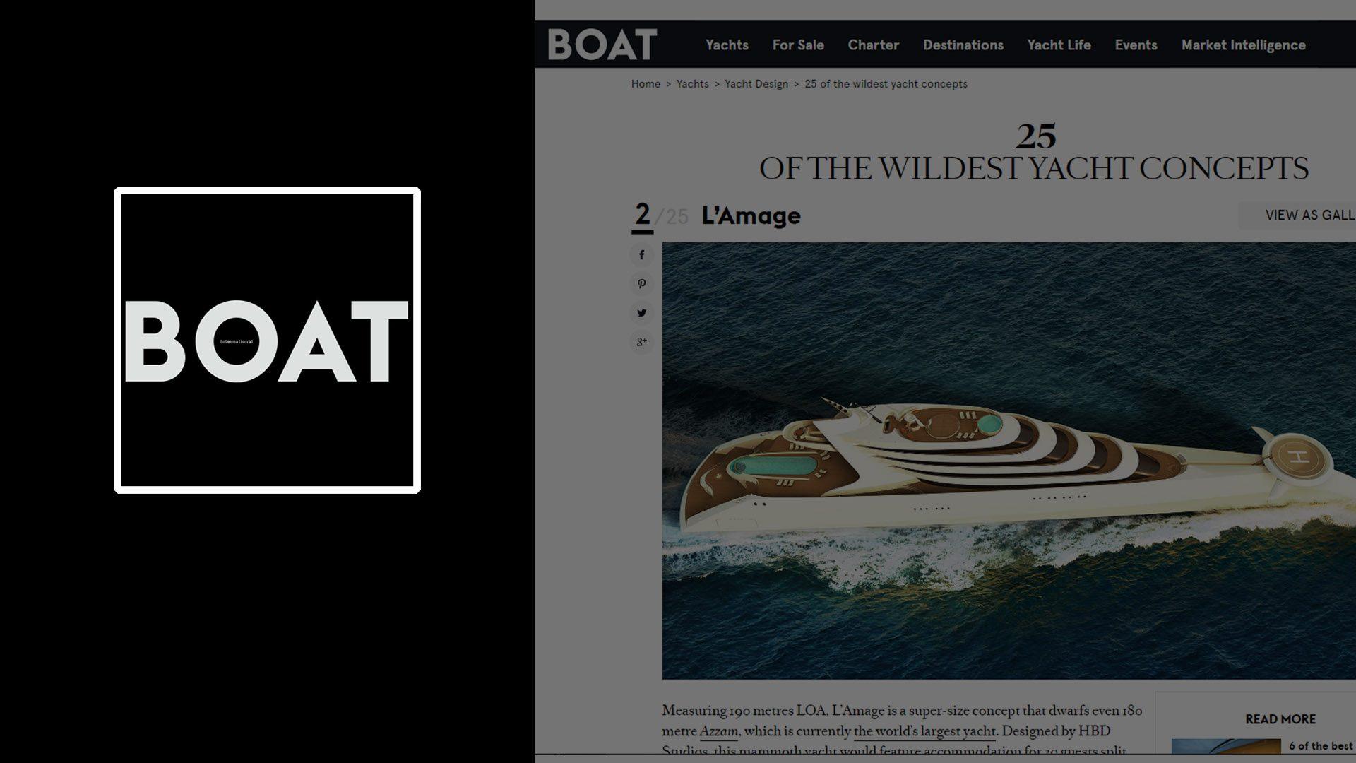 Superyacht L'Amage concept design by Hamid Bekradi featured on BOAT International magazine