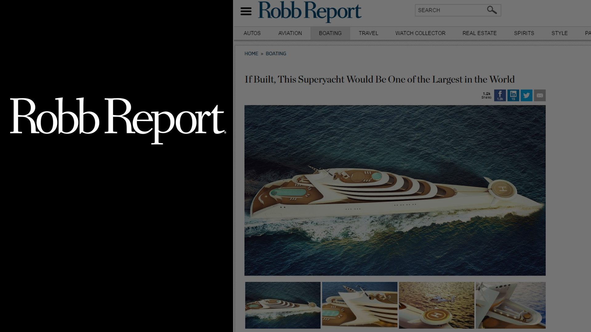 Superyacht concept L'Amage designed by Hamid Bekradi of HBD Studios, featured on Robb Report magazine