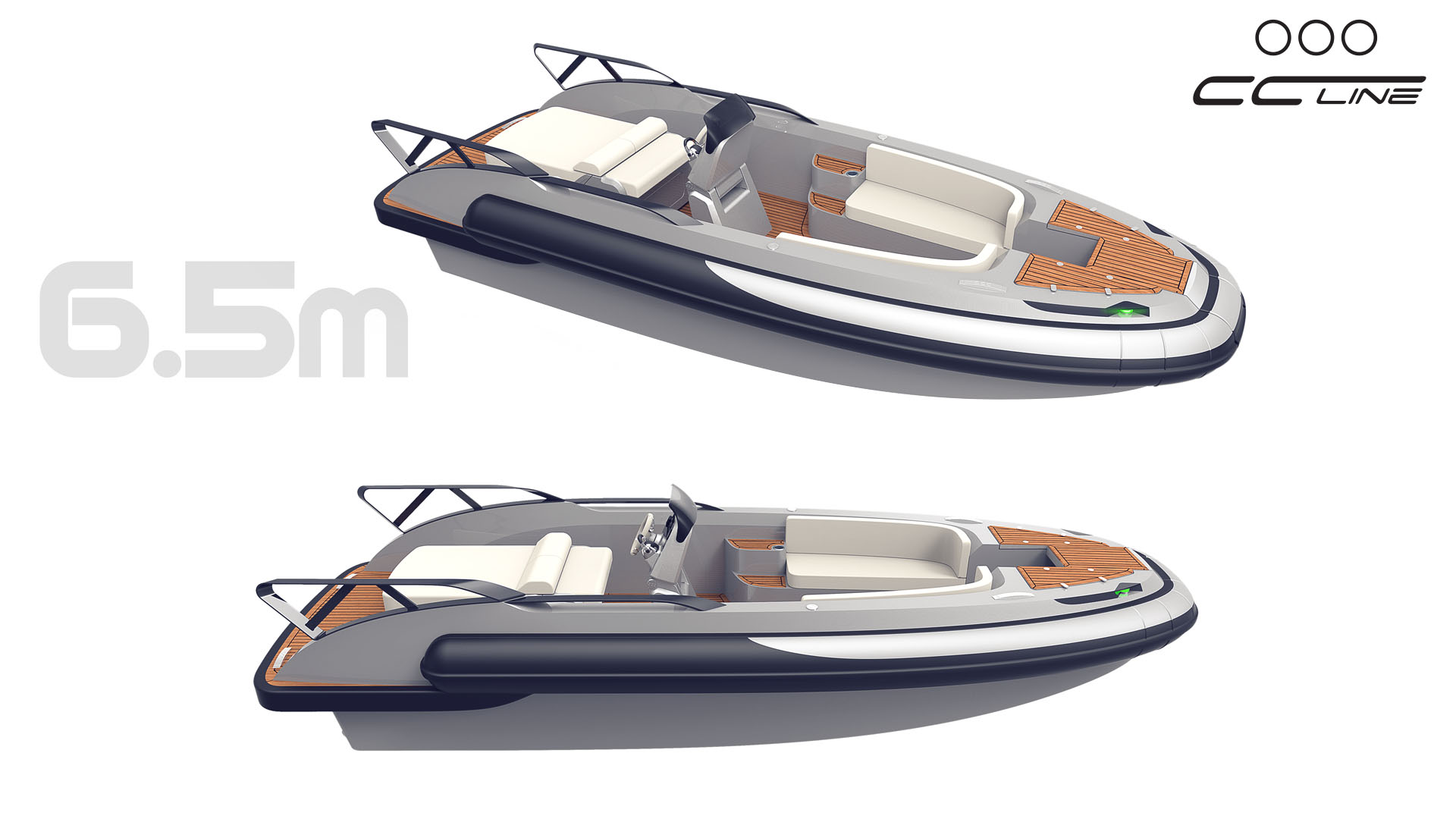 CC LINE superyacht tender, 6.5 meter central console boat, RIB tender, yacht design by Hamid Bekradi, HBD Studios