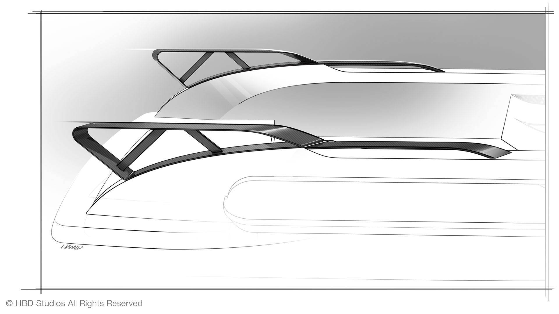Yacht Design Sketch of CC LINE superyacht tender, central console boat, RIB tender, yacht design by Hamid Bekradi, HBD Studios